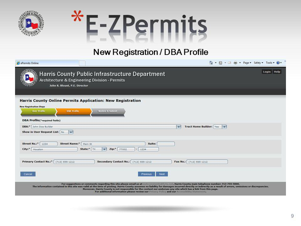 40 All applications will be received thru the E-ZPermits system OR as drop off.