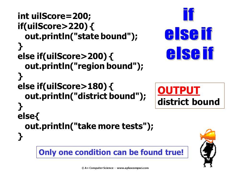 int num =75; if(num>50) { if(num>50&&num<100) { if(num>50&&num<150) { System.out.println( >50 && <150 ); } OUTPUT >50 && <150