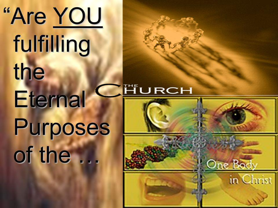 Are YOU fulfilling the Eternal Purposes of the …