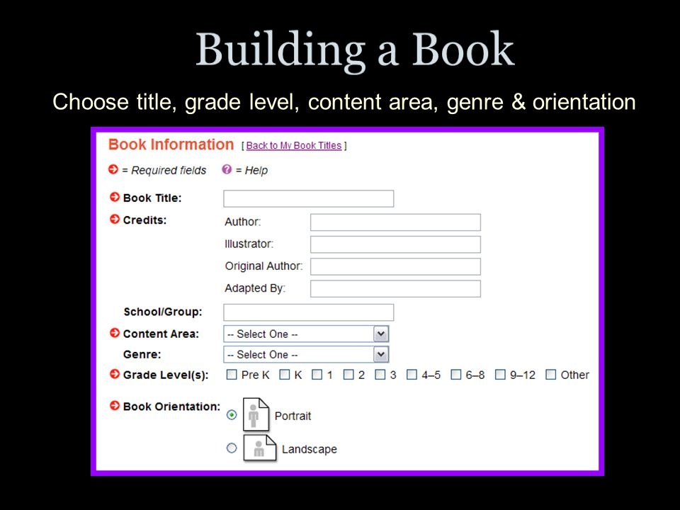 Choose title, grade level, content area, genre & orientation