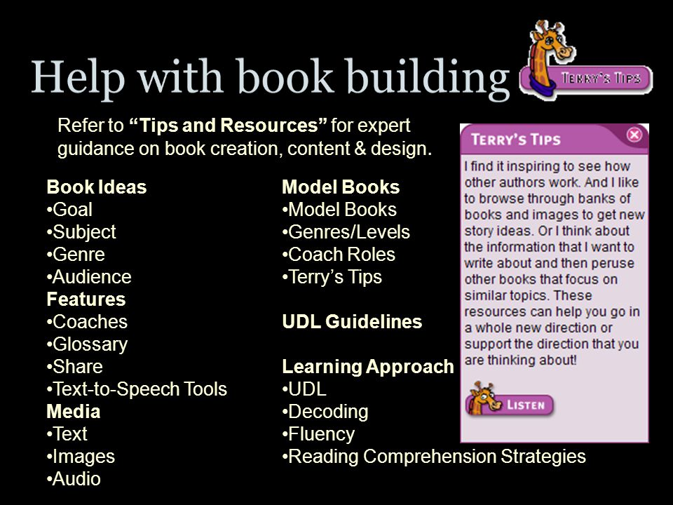 Refer to Tips and Resources for expert guidance on book creation, content & design.