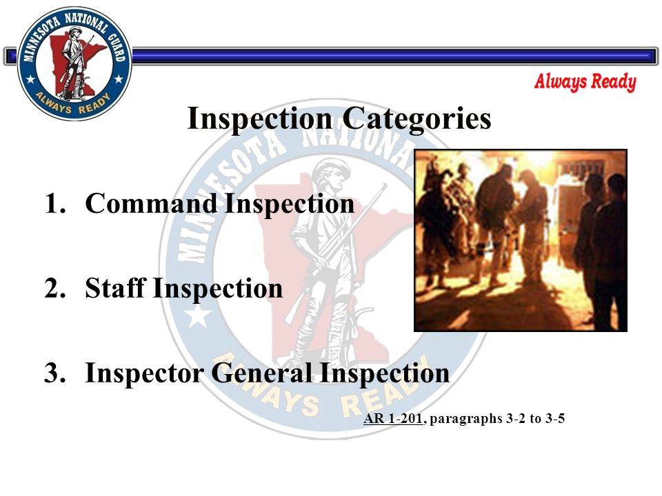 1. Command Inspection 2. Staff Inspection 3.