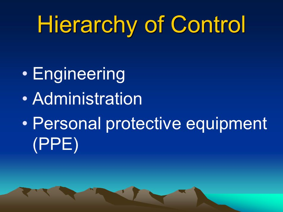 Hierarchy of Control Control the source Control the path Control the exposure at the worker