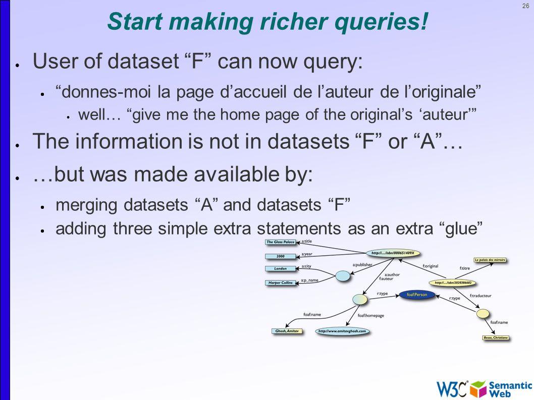26 Start making richer queries.