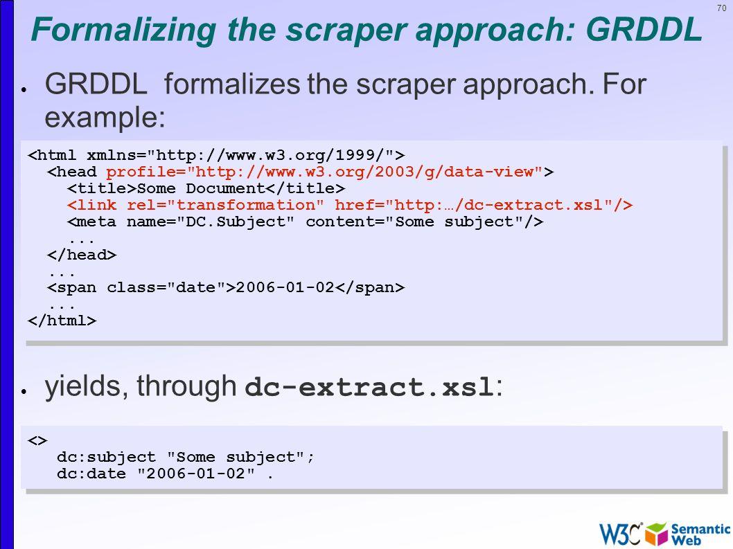 70 Formalizing the scraper approach: GRDDL  GRDDL formalizes the scraper approach.