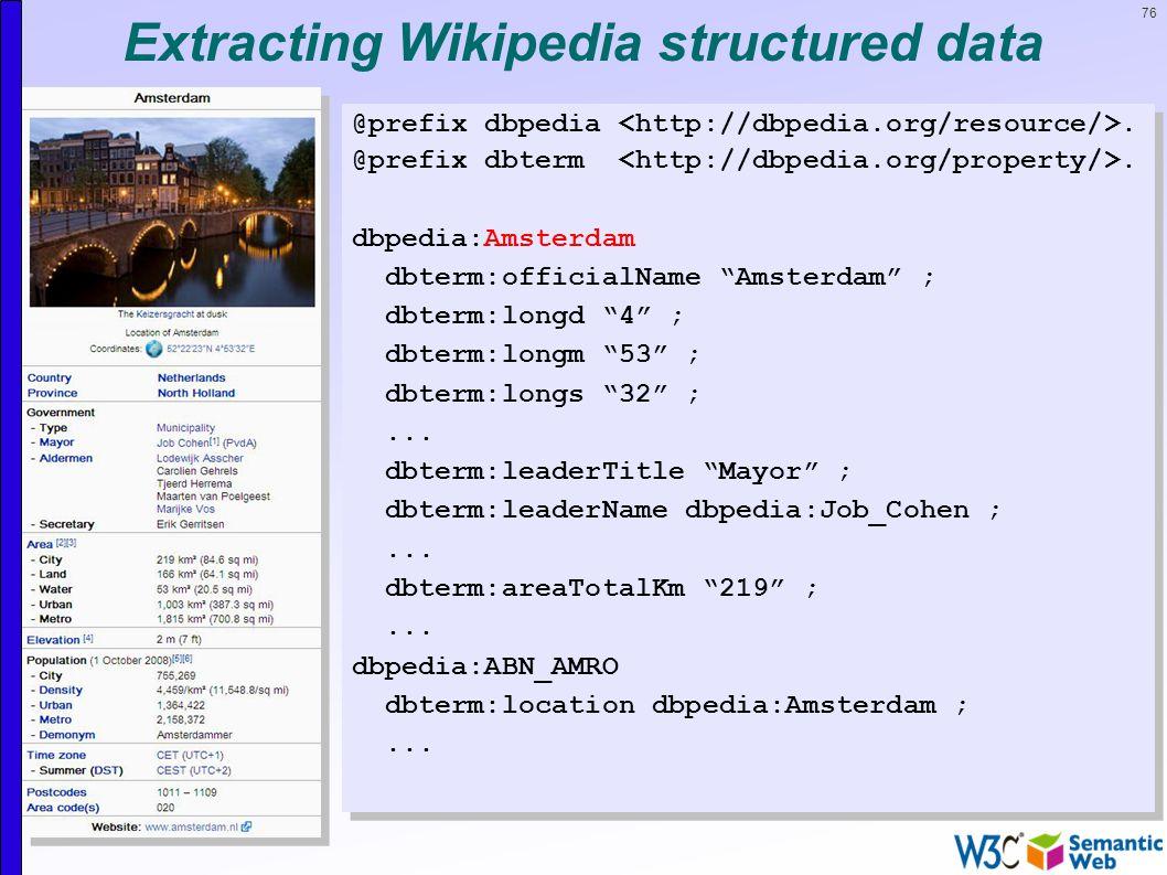 76 Extracting Wikipedia structured data @prefix dbpedia.