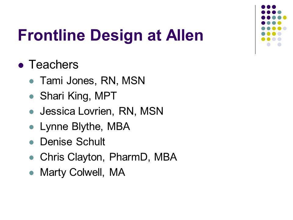 Frontline Design at Allen Teachers Tami Jones, RN, MSN Shari King, MPT Jessica Lovrien, RN, MSN Lynne Blythe, MBA Denise Schult Chris Clayton, PharmD,