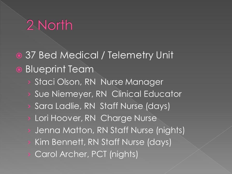  37 Bed Medical / Telemetry Unit  Blueprint Team › Staci Olson, RN Nurse Manager › Sue Niemeyer, RN Clinical Educator › Sara Ladlie, RN Staff Nurse