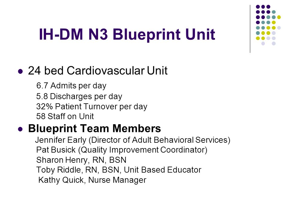 IH-DM N3 Blueprint Unit 24 bed Cardiovascular Unit 6.7 Admits per day 5.8 Discharges per day 32% Patient Turnover per day 58 Staff on Unit Blueprint T