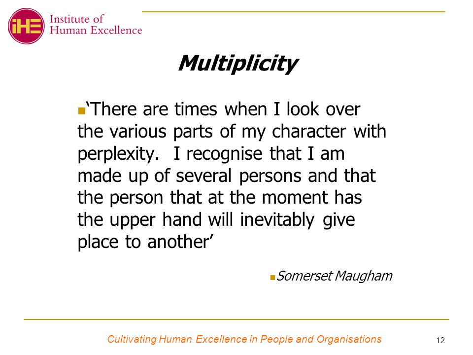 Cultivating Human Excellence in People and Organisations 12 Multiplicity 'There are times when I look over the various parts of my character with perplexity.