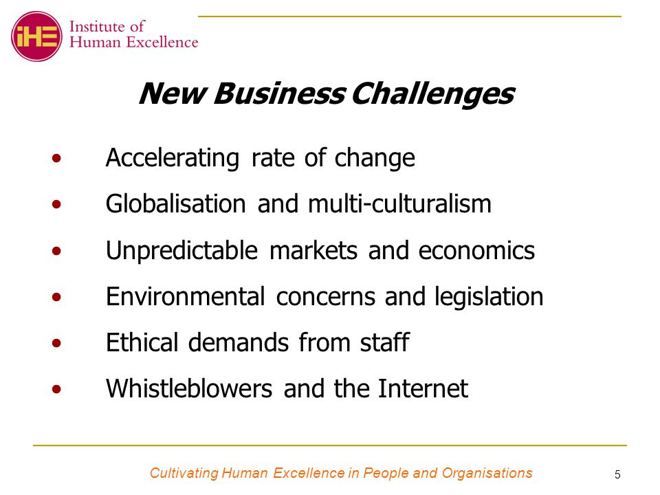 Cultivating Human Excellence in People and Organisations 5 New Business Challenges Accelerating rate of change Globalisation and multi-culturalism Unpredictable markets and economics Environmental concerns and legislation Ethical demands from staff Whistleblowers and the Internet