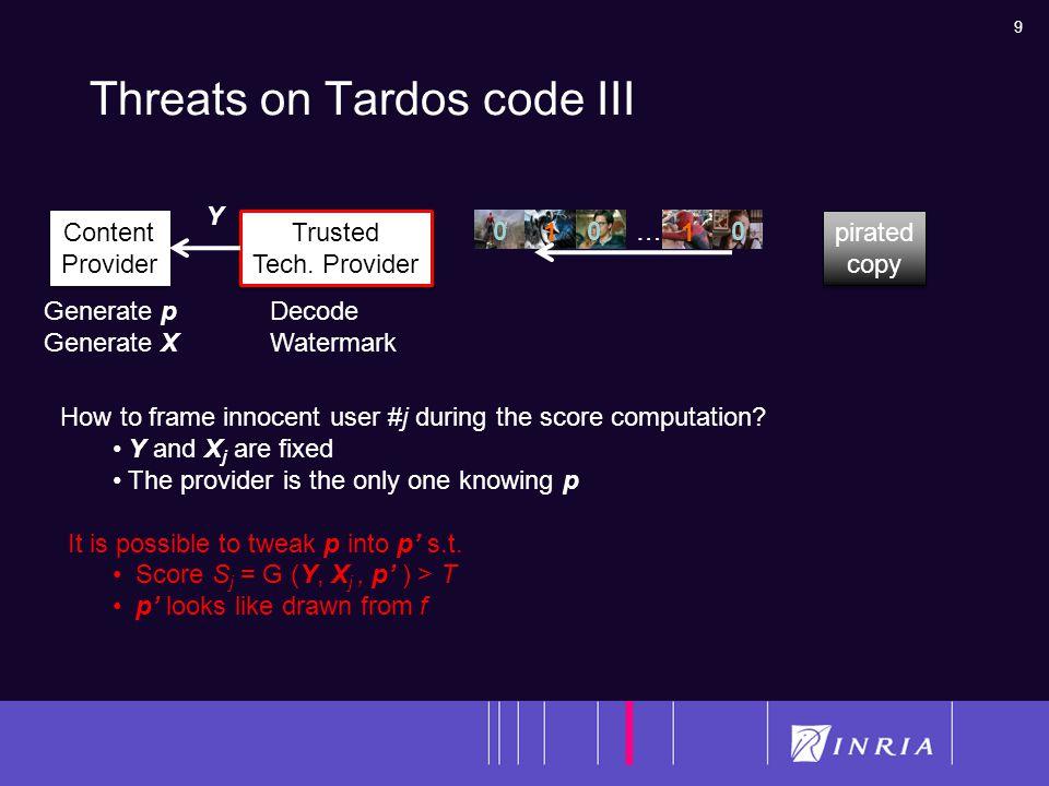 9 Threats on Tardos code III Content Provider Content Provider … 0 0 0 0 0 0 1 1 1 1 Generate p Generate X Trusted Tech.