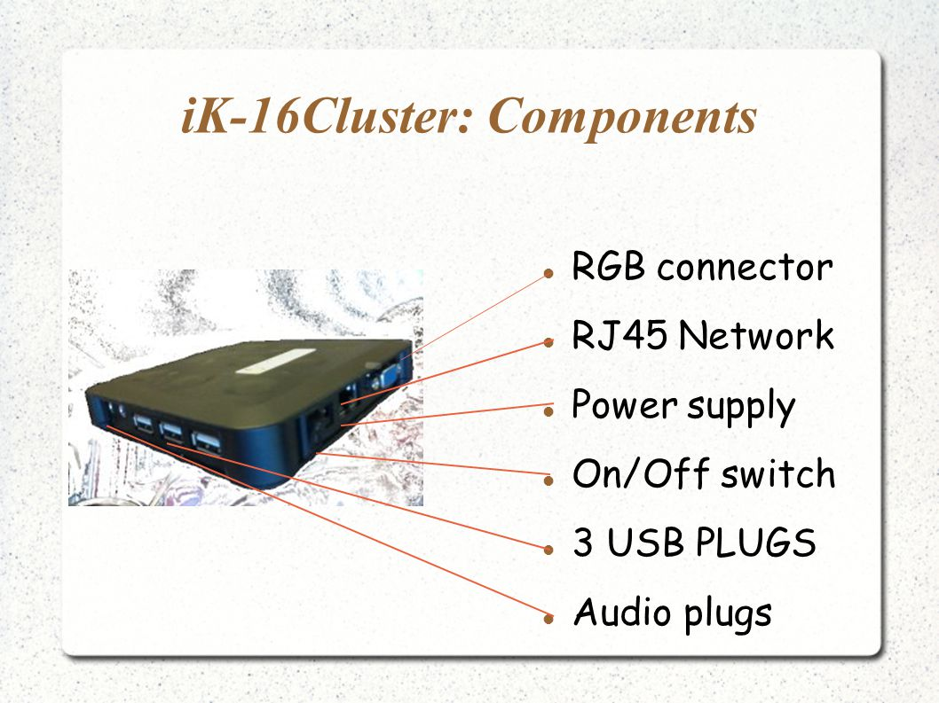 iK-16Cluster: Components RGB connector RJ45 Network Power supply On/Off switch 3 USB PLUGS Audio plugs