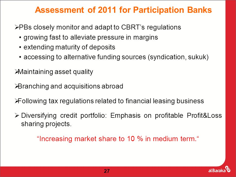 27  PBs closely monitor and adapt to CBRT's regulations growing fast to alleviate pressure in margins extending maturity of deposits accessing to alternative funding sources (syndication, sukuk)  Maintaining asset quality  Branching and acquisitions abroad  Following tax regulations related to financial leasing business  Diversifying credit portfolio: Emphasis on profitable Profit&Loss sharing projects.