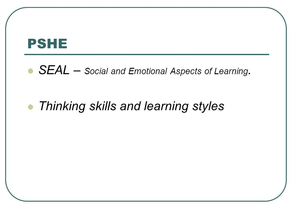 PSHE SEAL – Social and Emotional Aspects of Learning. Thinking skills and learning styles