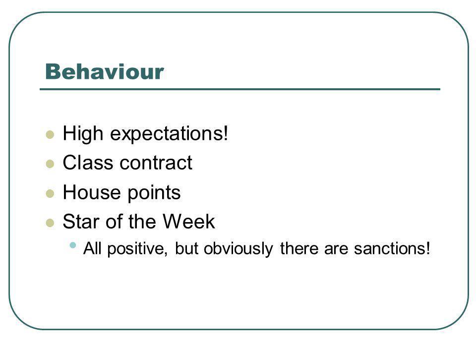 Behaviour High expectations.