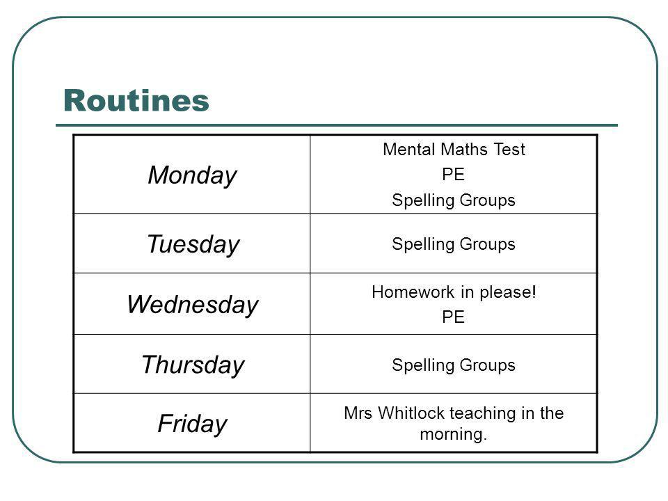 Routines Monday Mental Maths Test PE Spelling Groups Tuesday Spelling Groups Wednesday Homework in please! PE Thursday Spelling Groups Friday Mrs Whit