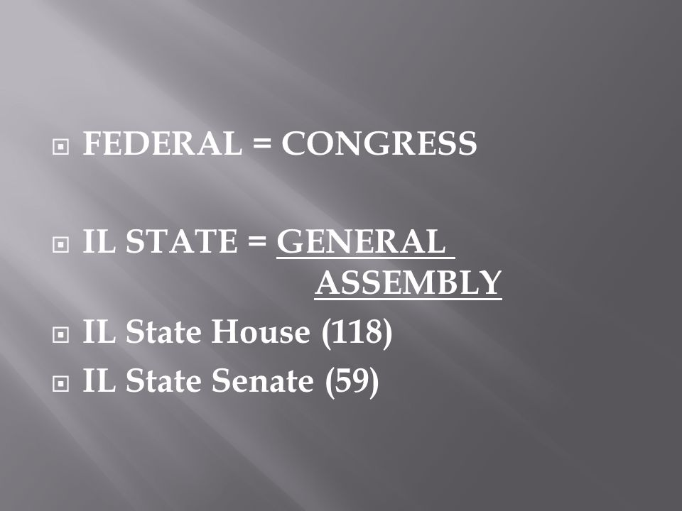  FEDERAL = CONGRESS  IL STATE = GENERAL ASSEMBLY  IL State House (118)  IL State Senate (59)