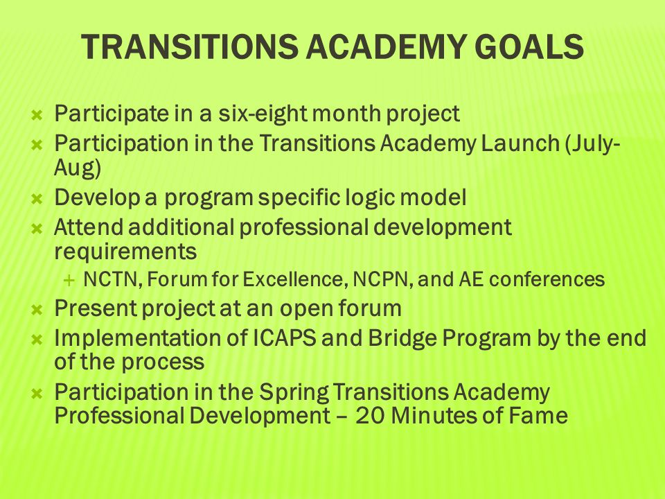 TRANSITIONS ACADEMY GOALS  Participate in a six-eight month project  Participation in the Transitions Academy Launch (July- Aug)  Develop a program