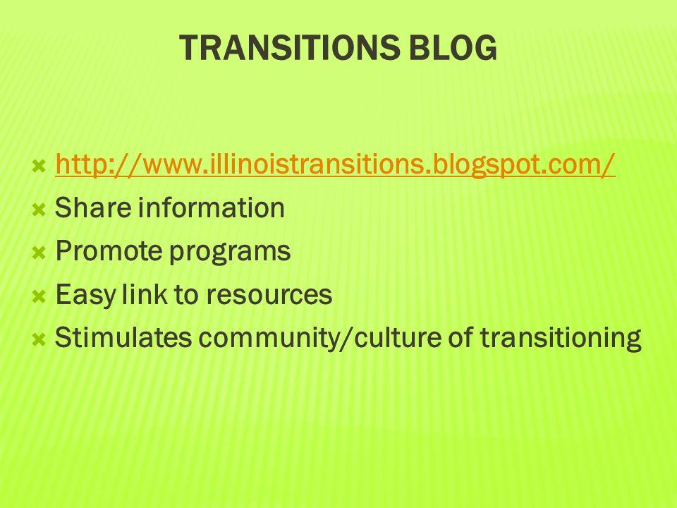 TRANSITIONS BLOG  http://www.illinoistransitions.blogspot.com/ http://www.illinoistransitions.blogspot.com/  Share information  Promote programs 