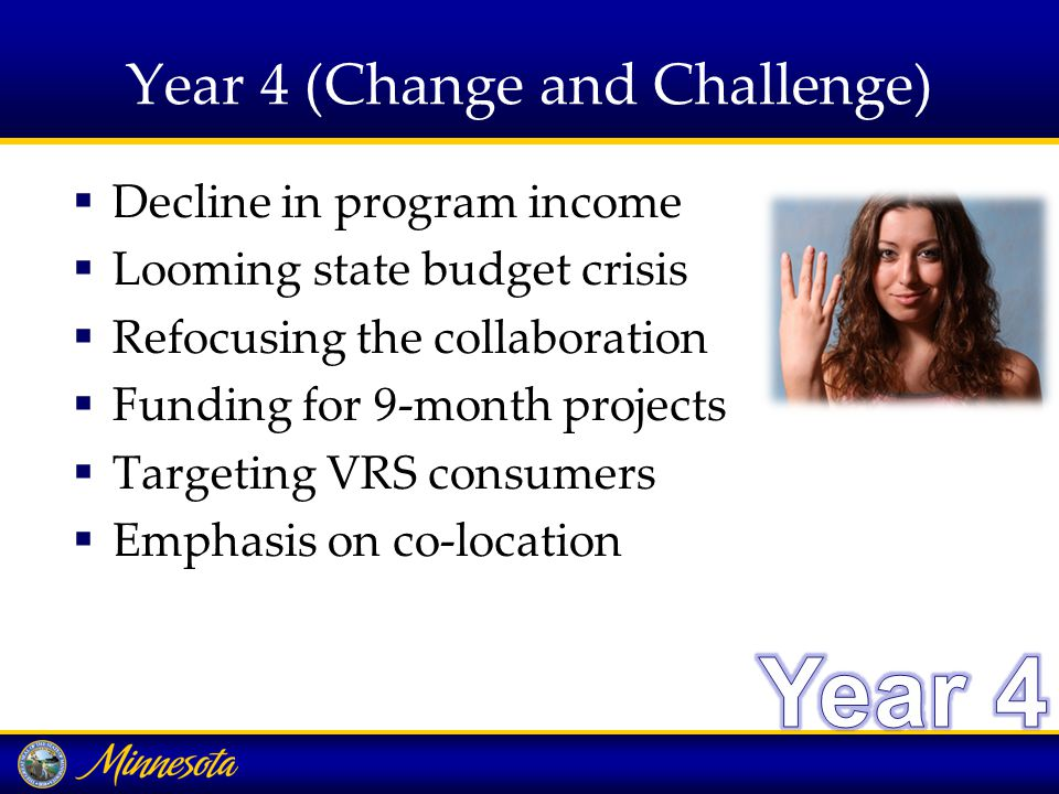 Year 4 (Change and Challenge)  Decline in program income  Looming state budget crisis  Refocusing the collaboration  Funding for 9-month projects  Targeting VRS consumers  Emphasis on co-location