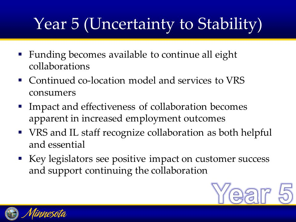 Year 5 (Uncertainty to Stability)  Funding becomes available to continue all eight collaborations  Continued co-location model and services to VRS consumers  Impact and effectiveness of collaboration becomes apparent in increased employment outcomes  VRS and IL staff recognize collaboration as both helpful and essential  Key legislators see positive impact on customer success and support continuing the collaboration