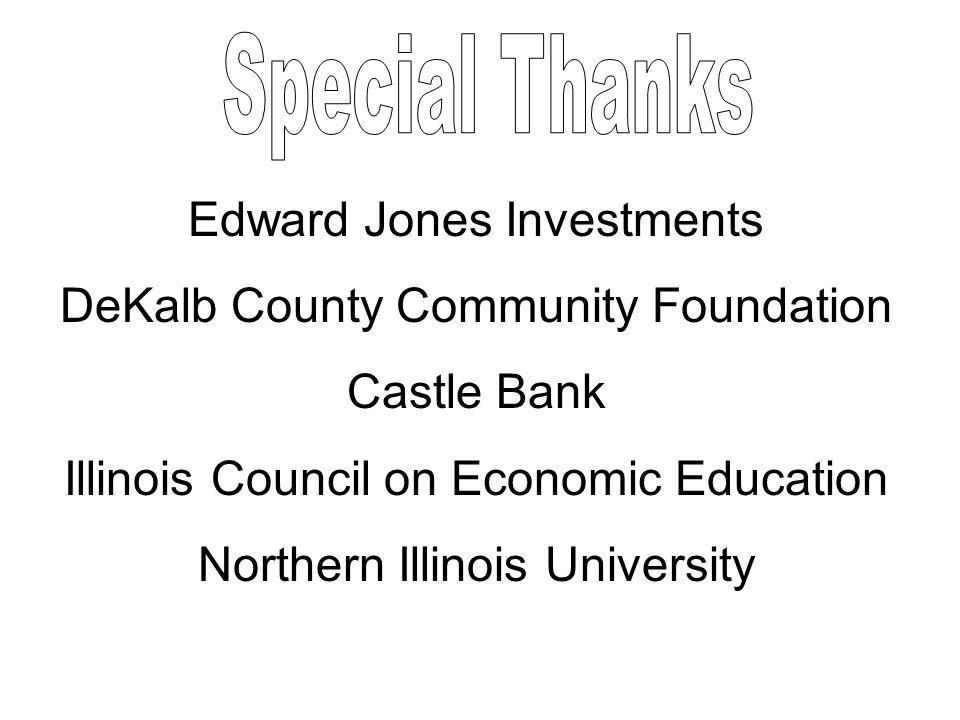 Edward Jones Investments DeKalb County Community Foundation Castle Bank Illinois Council on Economic Education Northern Illinois University