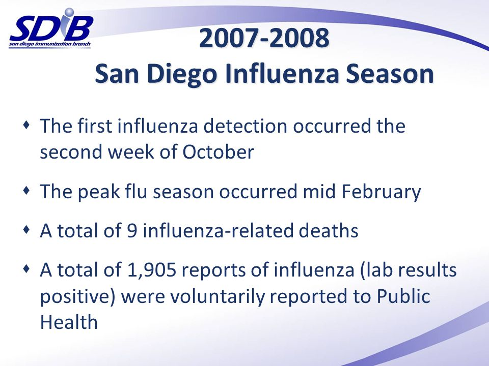 2007-2008 San Diego Influenza Season  The first influenza detection occurred the second week of October  The peak flu season occurred mid February 