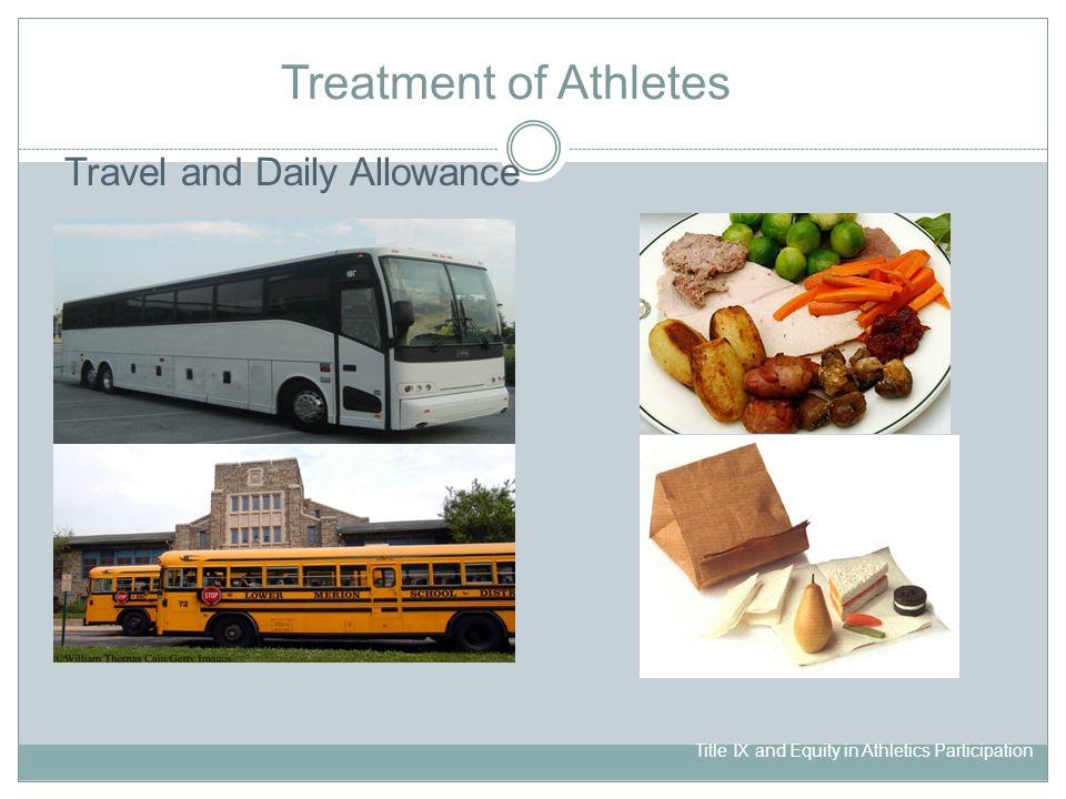 Title IX and Equity in Athletics Participation Treatment of Athletes Travel and Daily Allowance