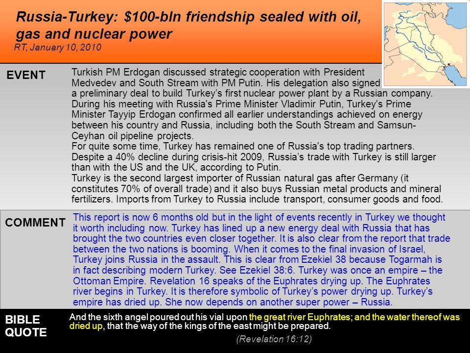 Russia-Turkey: $100-bln friendship sealed with oil, gas and nuclear power Turkish PM Erdogan discussed strategic cooperation with President Medvedev and South Stream with PM Putin.