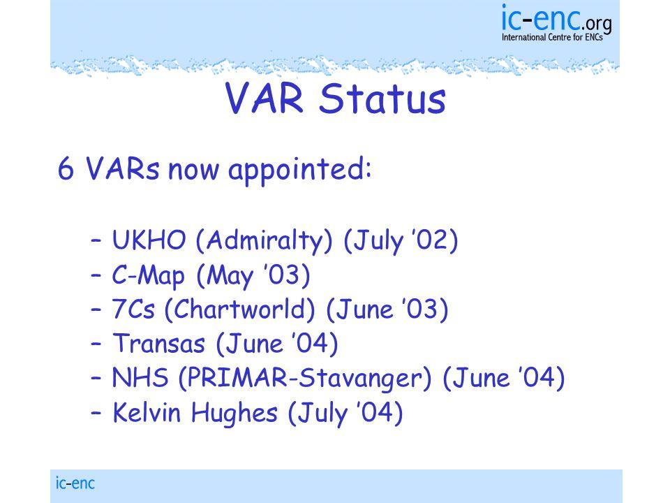 VAR Status 6 VARs now appointed: –UKHO (Admiralty) (July '02) –C-Map (May '03) –7Cs (Chartworld) (June '03) –Transas (June '04) –NHS (PRIMAR-Stavanger) (June '04) –Kelvin Hughes (July '04)