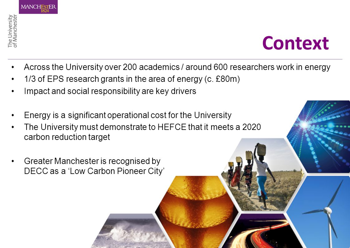 Context Across the University over 200 academics / around 600 researchers work in energy 1/3 of EPS research grants in the area of energy (c.