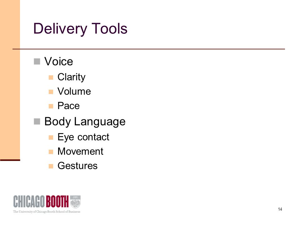14 Delivery Tools Voice Clarity Volume Pace Body Language Eye contact Movement Gestures