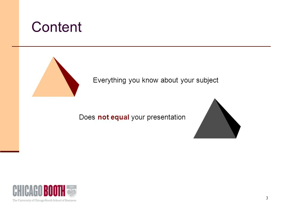 3 Content Everything you know about your subject Does not equal your presentation