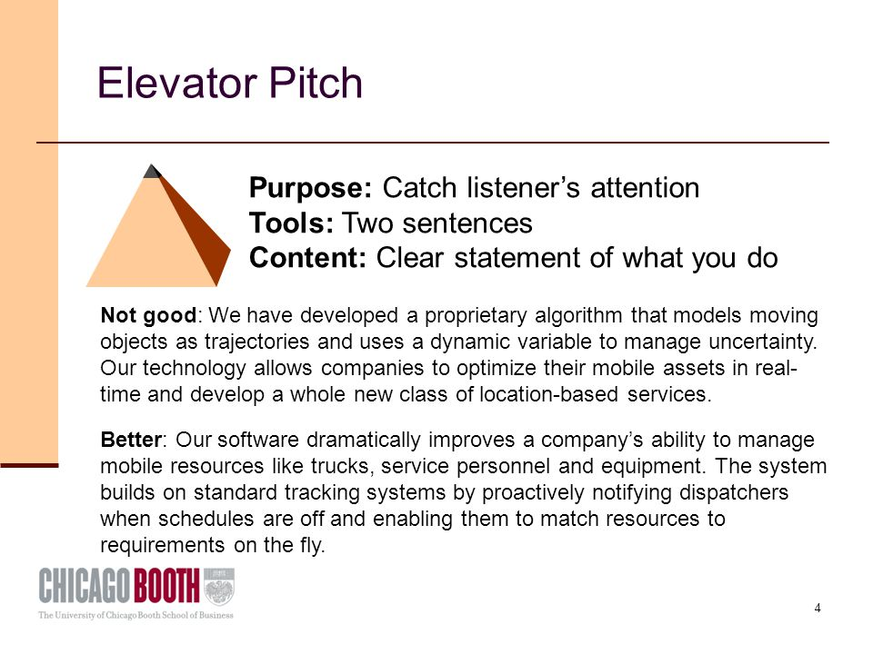 4 Elevator Pitch Purpose: Catch listener's attention Tools: Two sentences Content: Clear statement of what you do Not good: We have developed a proprietary algorithm that models moving objects as trajectories and uses a dynamic variable to manage uncertainty.