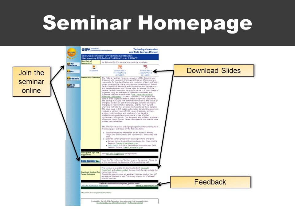 Seminar Homepage Join the seminar online Download Slides Feedback