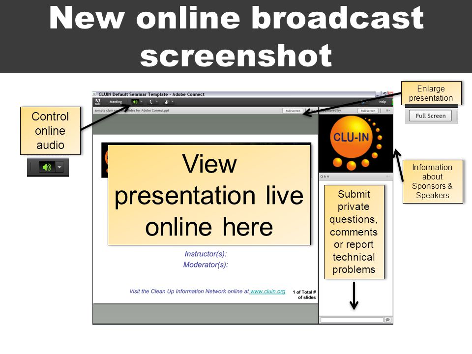 New online broadcast screenshot View presentation live online here Information about Sponsors & Speakers Submit private questions, comments or report technical problems Enlarge presentation Control online audio