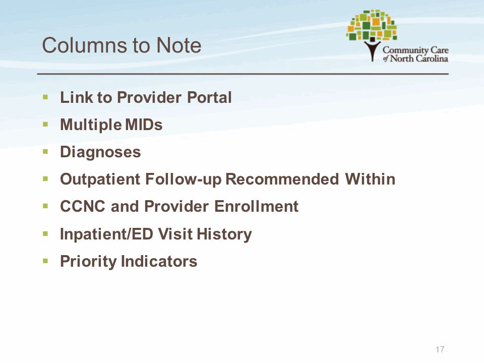 Columns to Note 17  Link to Provider Portal  Multiple MIDs  Diagnoses  Outpatient Follow-up Recommended Within  CCNC and Provider Enrollment  Inpatient/ED Visit History  Priority Indicators