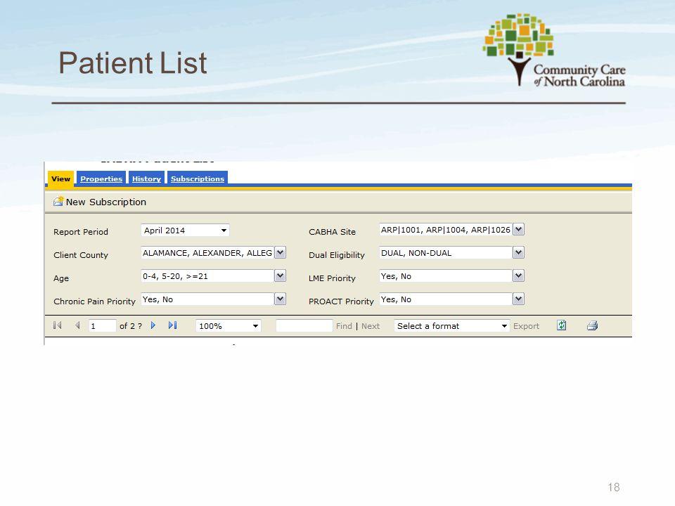 Patient List 18