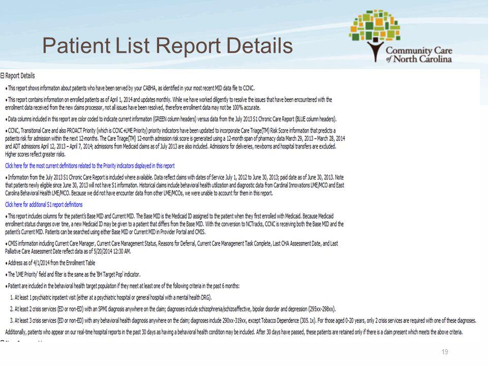 Patient List Report Details 19