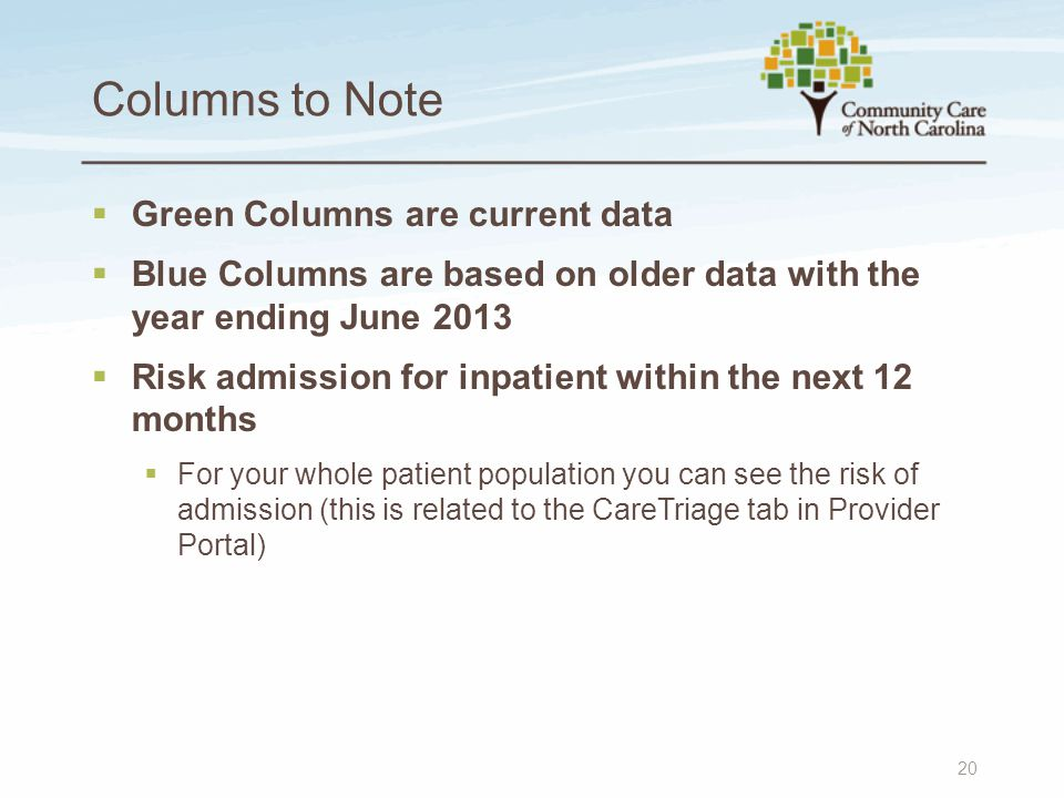 Columns to Note  Green Columns are current data  Blue Columns are based on older data with the year ending June 2013  Risk admission for inpatient
