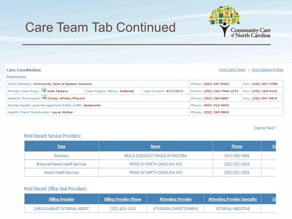 Care Team Tab Continued 5