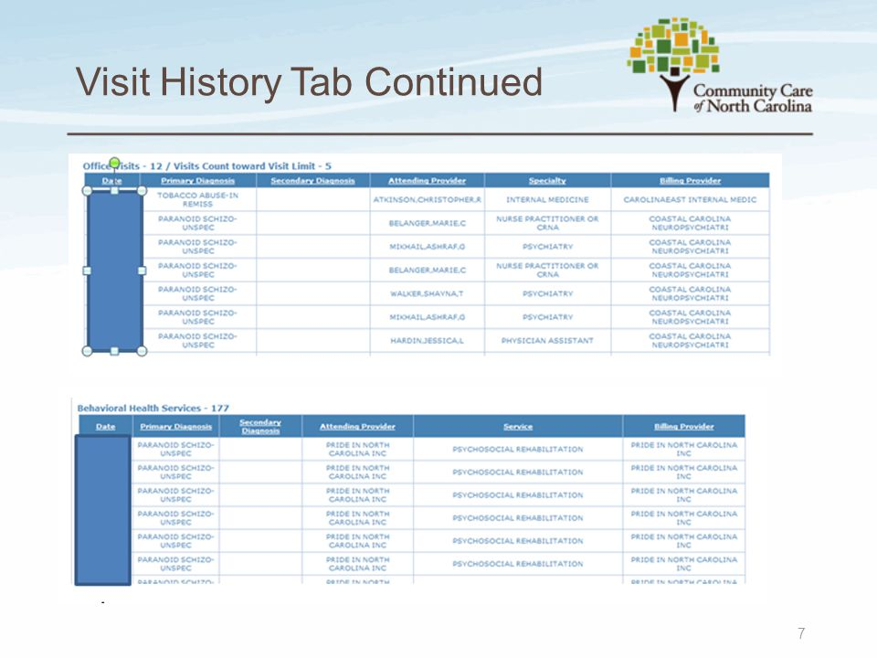 Visit History Tab Continued 7