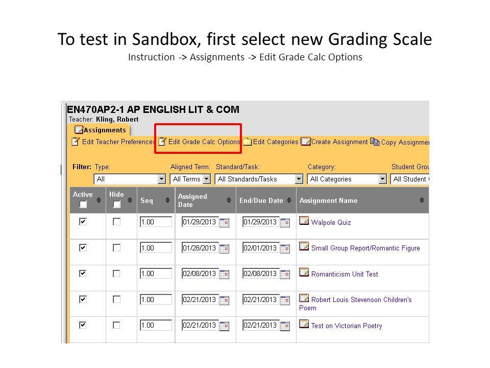 Change Grading Scale Select Grading Committee Scale 1: 1-5 or Grading Committee Scale 2: 50-100