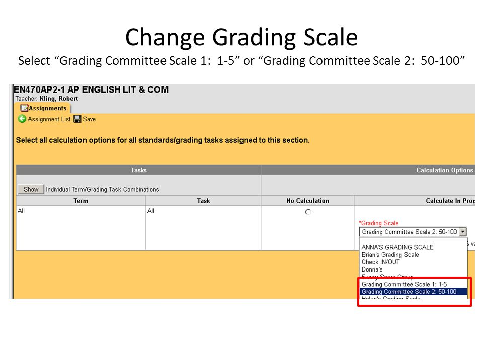 If you select Grading Committee Scale 1: 1-5 , continue scoring assignments by recording the total number of points received by the student For example, on this homework assignment, students received 19/20, 16/20, 18/20, etc.