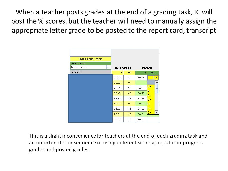 When a teacher posts grades at the end of a grading task, IC will post the % scores, but the teacher will need to manually assign the appropriate letter grade to be posted to the report card, transcript This is a slight inconvenience for teachers at the end of each grading task and an unfortunate consequence of using different score groups for in-progress grades and posted grades.
