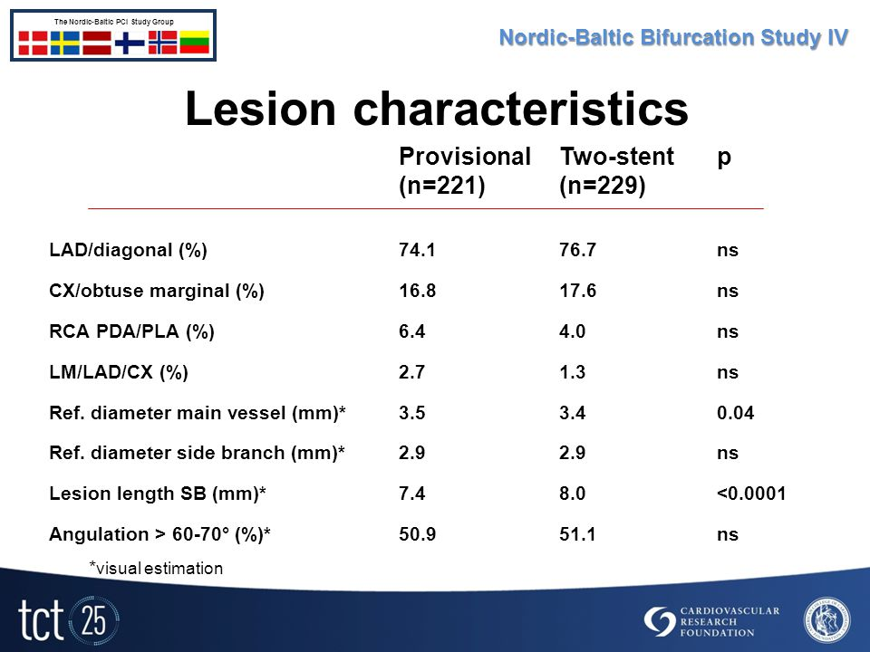 Lesion characteristics Provisional (n=221) Two-stent (n=229) p LAD/diagonal (%)74.176.7ns CX/obtuse marginal (%)16.817.6ns RCA PDA/PLA (%)6.44.0ns LM/