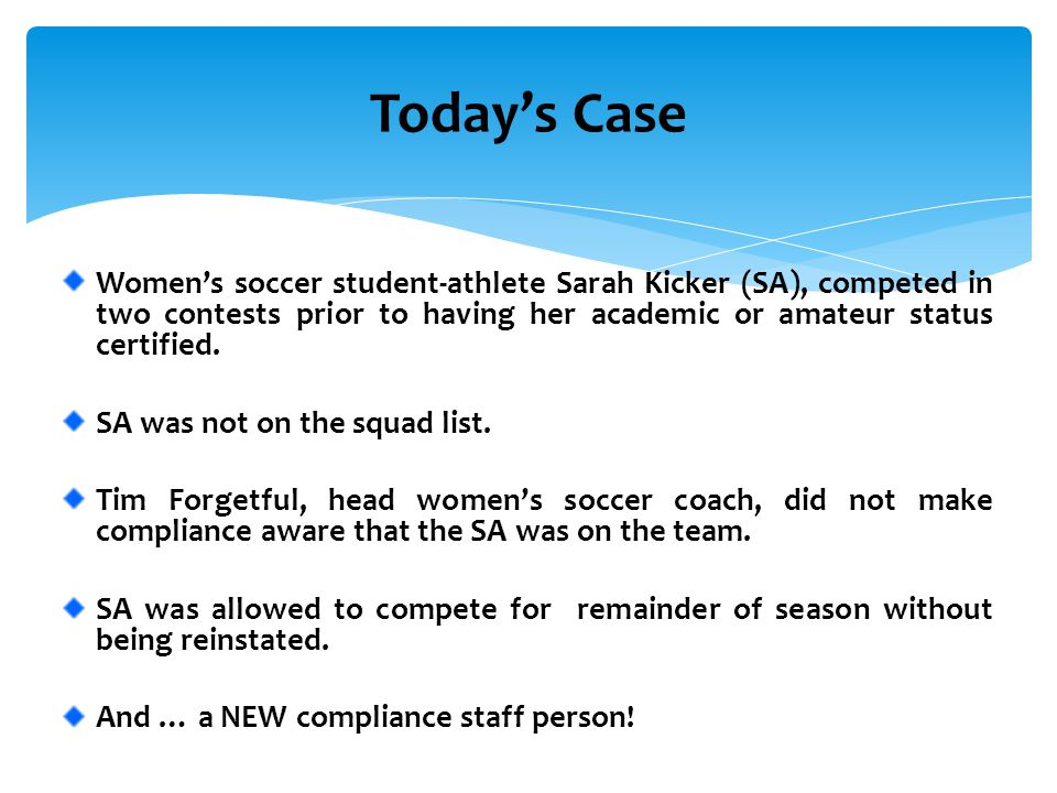 Women's soccer student-athlete Sarah Kicker (SA), competed in two contests prior to having her academic or amateur status certified. SA was not on the