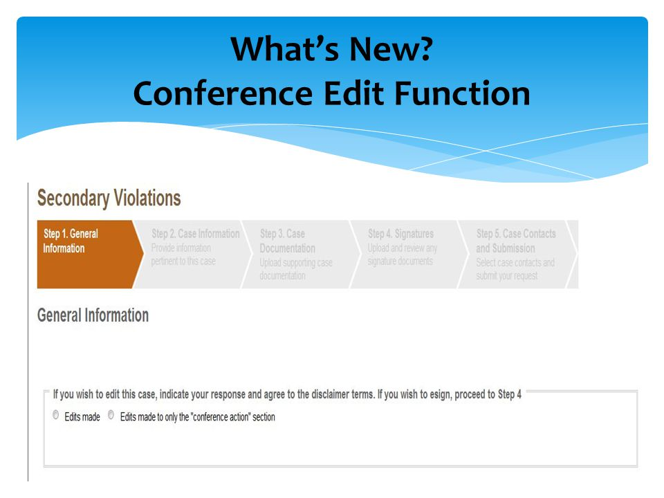  What the conference sees What's New? Conference Edit Function