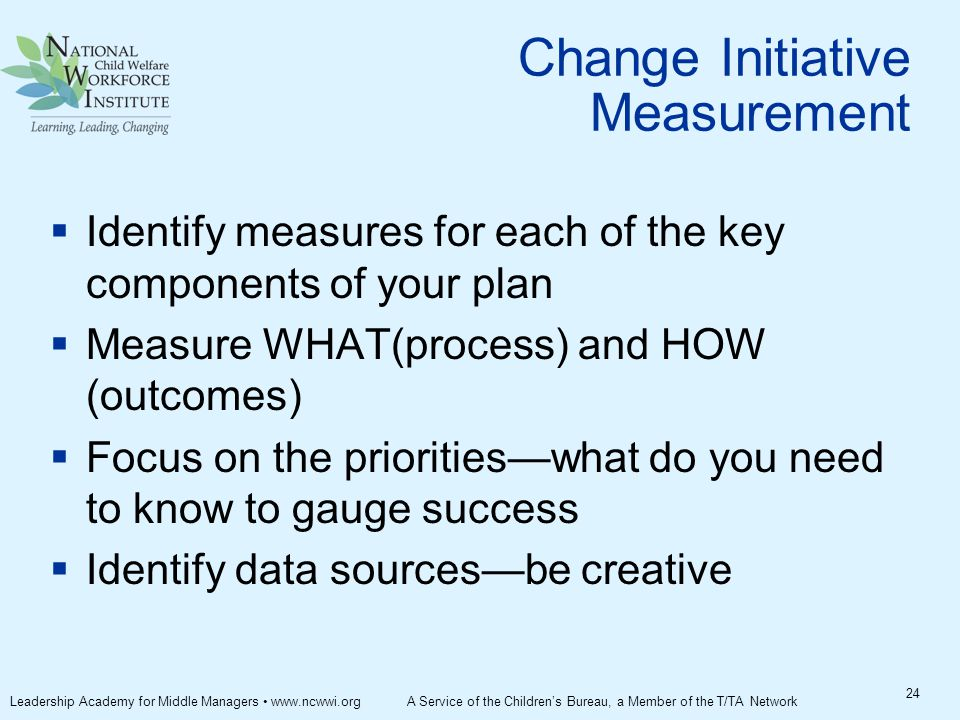Change Initiative Measurement  Identify measures for each of the key components of your plan  Measure WHAT(process) and HOW (outcomes)  Focus on the priorities—what do you need to know to gauge success  Identify data sources—be creative 24 Leadership Academy for Middle Managers www.ncwwi.org A Service of the Children's Bureau, a Member of the T/TA Network